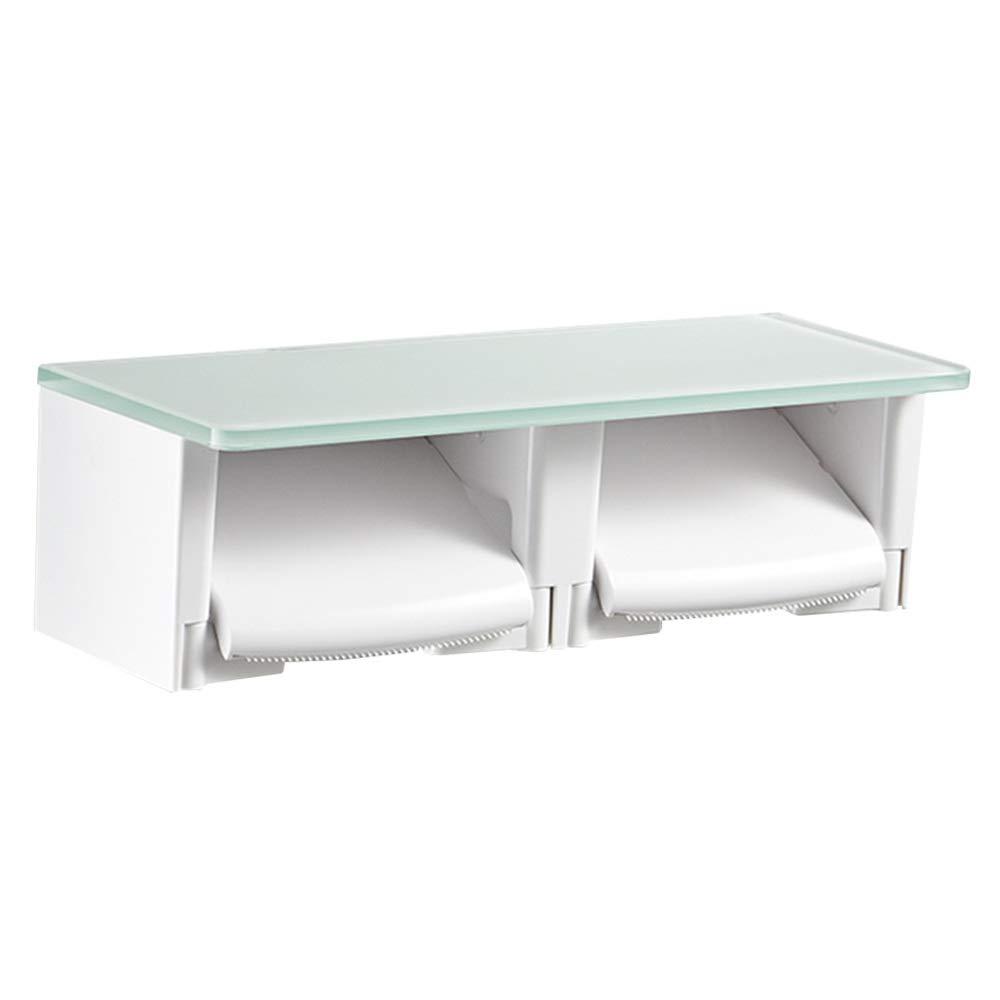 CHUNLAN 壁トイレットペーパーホルダーガラス木製ABSシングルロール/ダブルロール紙浴室備品キッチン棚 (色 : Glass)  Glass B07PQKJWNV
