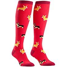 Sock It To Me Corgis Red Women's Knee High Socks, One Size Fits Most, Red