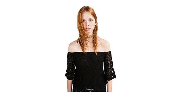 Baymate Mujer Off Shoulder Crop Tops Encaje Blusas Delgado Ajuste Camiseta: Amazon.es: Ropa y accesorios