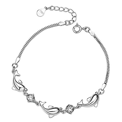 Ameesi Charms Bracelet Ankle Chain Women Lady Jewelry Shiny Faux Rhinestone Adjustable Dolphin Links Bangle White