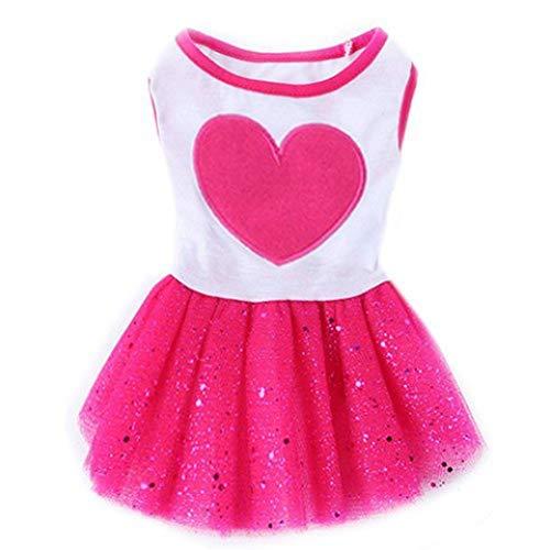 Miniature Denim Shirt Dachshund (Jim-Hugh Pet Dog Love Heart Sequins Gauze Tutu Dresses Skirt Puppy Cat Rose Red Clothes)