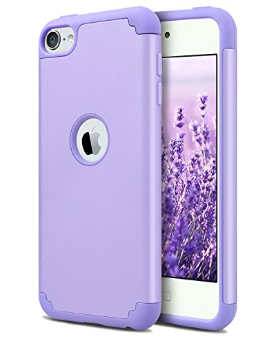 Dailylux iPod Touch 6 Case,iPod Touch 7 Case,iPod Touch 5 Cases,Slim Dual Layer Protective Case Girls Boys Hybrid Hard Back Cover and Soft Silicone for Apple iPod Touch 5/6/7th Generation Purple