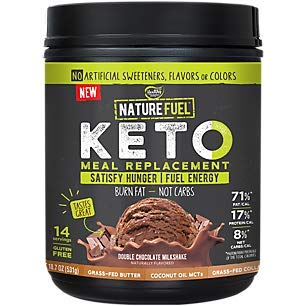 Nature Fuel Keto Meal Replacement Shake, Double Chocolate Milkshake, With GrassFed Butter and Collage and Coconut Oil MCT's (18.7 Ounces Powder)