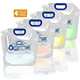 WaterStorageCube Premium Collapsible Water Container Bag, BPA Free Food Grade Clear Plastic Storage Jug for Camping Hiking Backpack Emergency, No-Leak Freezable Foldable Water Bottle 1.3 Gallon 4-Pack