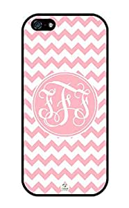 iZERCASE Monogram Personalized Light Pink Chevron Pattern with Pink Circle iphone 5 / iPhone 5S case - Fits iphone 5, iPhone 5S T-Mobile, AT&T, Sprint, Verizon and International (Black)