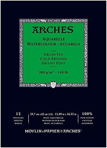 Arches - Papel de acuarela, bloc 12 hojas engomado 1 lado, grano ...
