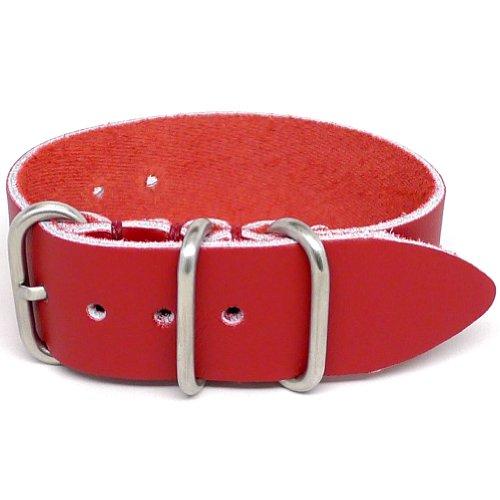 DaLuca 1 Piece NATO Watch Strap - Red (Matte Buckle) : 24mm