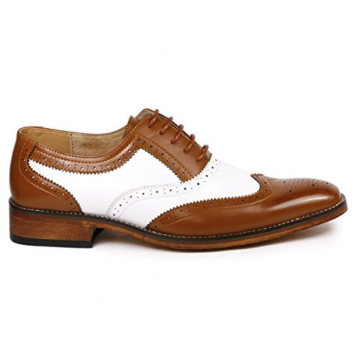 Dress Oxford Men's Tan Shoes MC118 Up Lace White Metrocharm Brown Two Wing Tip Tone Perforated HZzzqwxvA