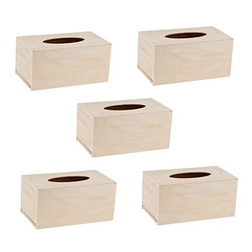 (Baoblaze 5pcs/set Unfinished Wood Tissue Box Holder Wooden Box Cover Craft Home Decor)