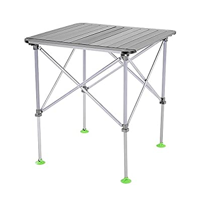 Docooler Height Adjustable Folding Table Outdoor Portable Aluminum Alloy Camping Table Desk Furniture Foldable Picnic Table with Carry Bag
