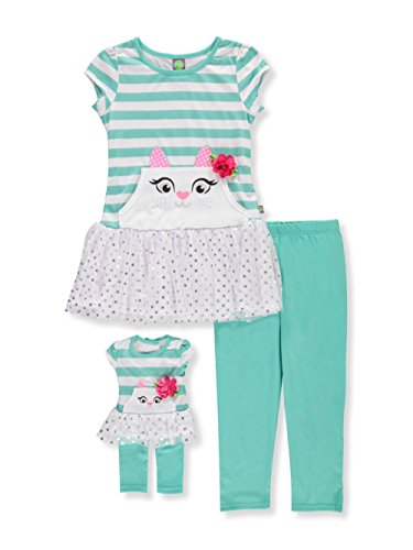 Dollie & Me Big Girls' Drop-Waist Tunic with Legging and Matching Doll Outfit, Turquoise/Multi, 8