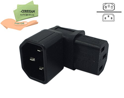 Cerrxian Down Angle IEC 320 C14 3 Pin Male to C13 Female PDU PSU UPS Power Extension Adapter Receptacle for LCD LED TV Wall Mount