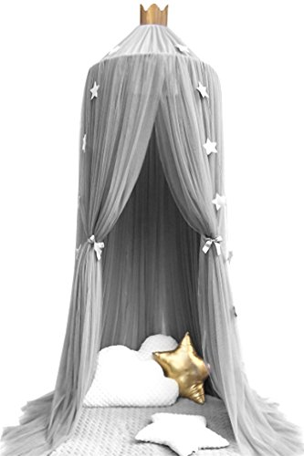 (LiCheng Dome Mosquito Net Canopy,Kids Tent for Playing Reading with Crown & Sparkling Star Garland Bonus For Queen King Size Bed)