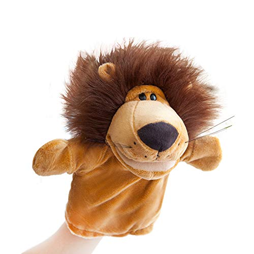 Hand Puppets Jungle Animal Friends with Working Mouth for Imaginative Play, Storytelling, Teaching, Preschool & Role-Play (Lion) ()