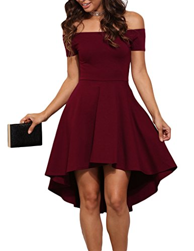 Sidefeel+Women+Off+Shoulder+Sleeve+High+Low+Skater+Dress+Medium+Wine+Red