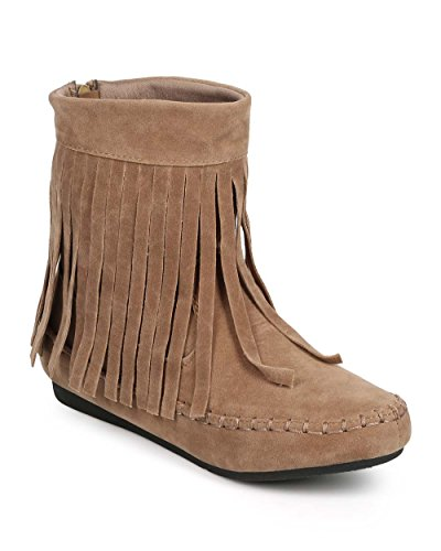 Glazuur Dh17 Dames Suede Franje Kraag Moc Teen Western Mocassin Bootie Taupe