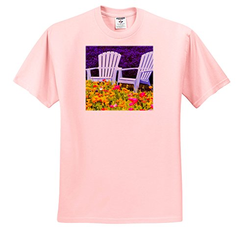 Price comparison product image 3dRose Danita Delimont - Gardens - USA, Washington, Adirondack Chairs In Field Of Lavender and Poppies - T-Shirts - Youth Light-Pink-T-Shirt Med(10-12) (TS_279767_45)