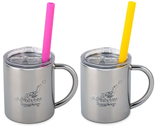 Housavvy Duck Stainless Steel Kids Cups with Lids and Straws, 2 PACK of 7.5 OZ