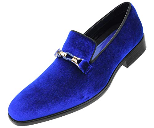 Amali Men's Faux Velvet Slip On Smoking Slipper with Metal and Knitted Buckle, Dress Shoe, Style Aller Runs Large, Size 1/2 Size Down Blue ()
