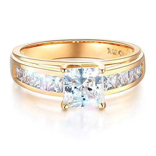 (Wellingsale Ladies Solid 14k Yellow Gold Polished CZ Cubic Zirconia Princess Cut Engagement Ring with Side Stones - Size 8)