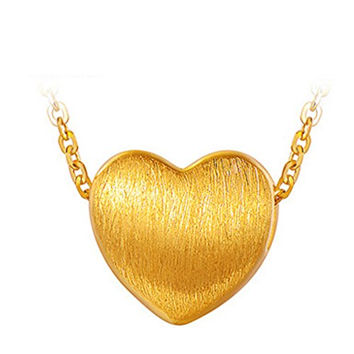 Oudin Women's Gold Heart Pendant Necklace (24 Inches) by Oudin