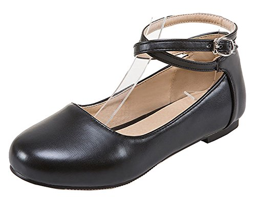 Easemax Women's Cute Low Cut Cross Ankle Strap Flats Pumps Shoes Black 10 B(M) US by Easemax