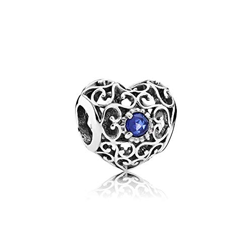 - Pandora September Signature Heart Charm With Synthetic Sapphire 791784SSA