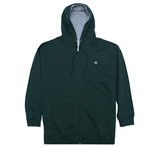Champion Men's Big-Tall Full Zip Fleece Hoodie DK.Green XLT