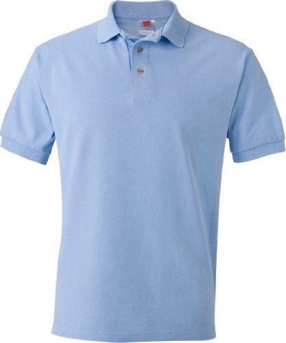 Hanes Mens Short Sleeve Cotton Pique Polo Shirt 055, Light Blue, XX-Large