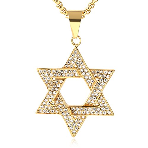 HZMAN Men Star of David Iced Out CZ Pendant 18k Gold Plated Stainless Steel Hip-Hop Necklace (Gold)