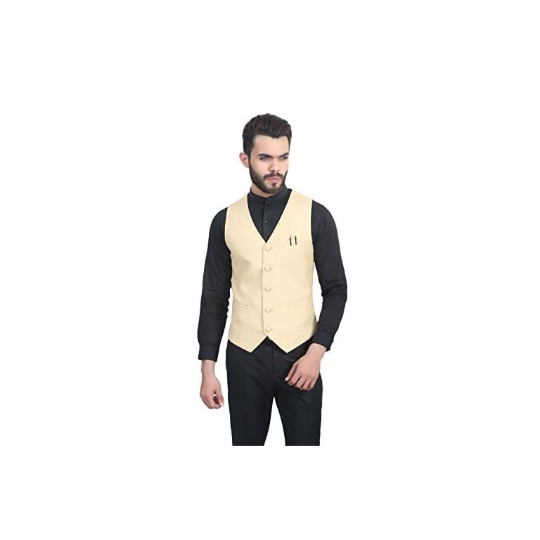 41rUSS1dyIL. SS768  - MANQ Men's V.Neck Five Button Slim Fit Party/Casual Waist Coat - 5 Colors