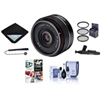 Rokinon 35mm f/2.8 AF Ultra Compact Lens for Sony E Mount - Bundle With 49mm Filter kit, Lens Wrap, Cleaning Kit, Capleash II, Lenspen Lens Cleaner, PC Software Package