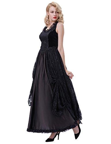Schwarz Kleid 1 Belle Poque Corsagenkleid Kleid Gothic Damen Lang Steampunk Bp378 xEwFT0wCq