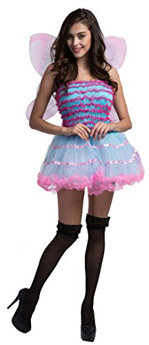 Fedo Design Women's Deluxe Sexy Monarch Fairy Butterfly Pink Morpho Butterfly Plush (Sexy Monarch Fairy Costumes)