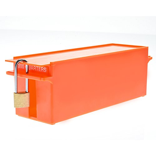 Nadex Large Capacity Rolled Coin Storage Box for Quarters | 300 Dollar Capacity, Lockable Orange Wrapped Quarters Tray (Box No Coins)