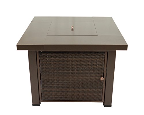 Pleasant Hearth OFG419T Rio Square Wicker Gas Fire Pit Table, ()