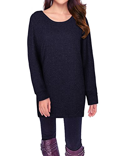 (STYLEWORD Women's Long Batwing Sleeve Pullover Loose Casual Knitted Sweater(Navy,XL))
