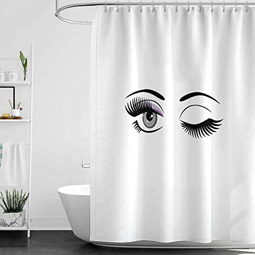 SKDSArts Shower Curtains Kate Spade Eyelash,Cartoon Style Dramatic Woman Eyes with Long Lashes Winking Flirting Gesture,Lilac Grey Black,W36 x L72,Shower Curtain for Small Shower stall ()