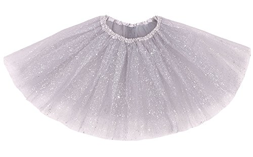 Simplicity Women's Classic Elastic 3 Layered Tulle Tutu Skirt, Silver Sequin -