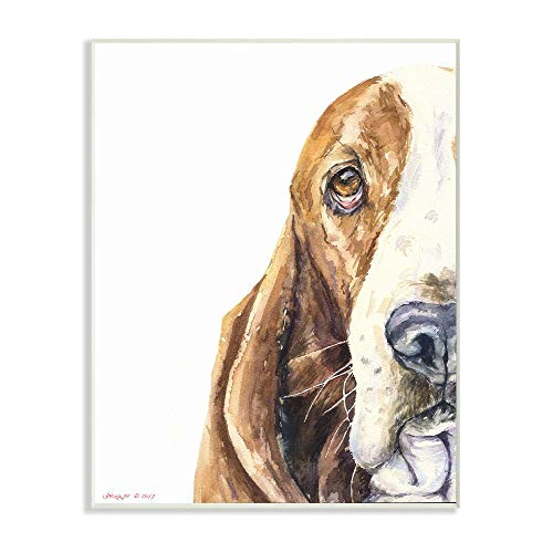 Stupell Industries Cute Large Dog Head Basset Hound Pet Animal Watercolor Painting Signs and Plaques, Multi-Color