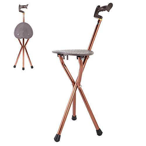 MAGT Metal Portable Folding Cane Stool Chair Best Health Cane Stool Golf Walking Seats Retractable Lightweight Walking Stick for Elderly Outdoor Travel Rest Stool (Thebalm Cane)