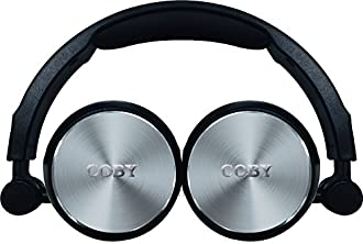 Coby CVH-804-SLV Aluminum Foldz Headphones with Built-In Mic, Silver