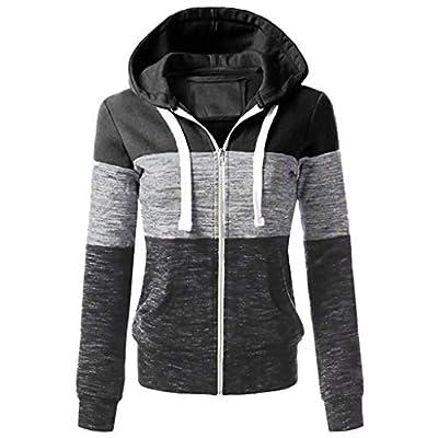 kaifongfu Winter Coat Women, Hooded Sweater Coat Winter Warm Wool Zipper Coat Cotton Outwear