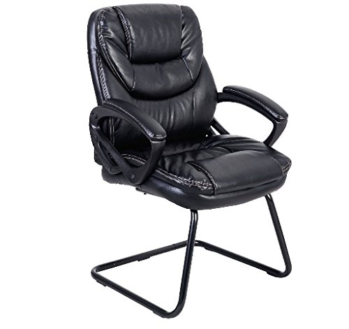 Black Mid Back Sled Base Guest Visitor Chair Office Desk Side Chair New Ship from USA