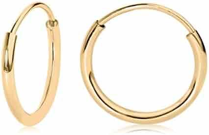 14k Yellow Gold Endless Hoop Earrings 10-20mm