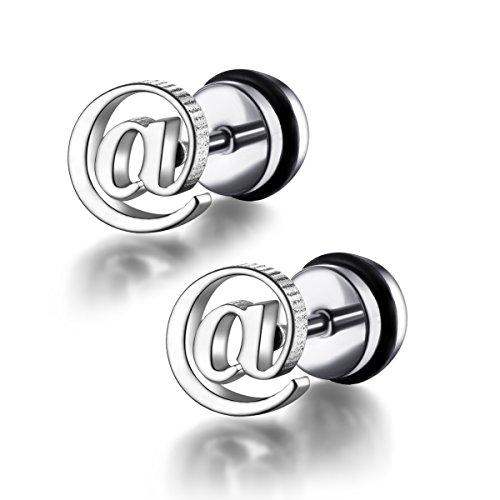 FORESTEEL Bijoux Hommes acier inoxydable chirurgical @ Symbole Faux plug EarringsWith O-Ring (vendus par paires)