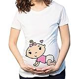 Women Maternity Short Sleeve Cartoon Print Tops T-Shirt Cute Funny Baby Panda Pregnancy Clothes Pink