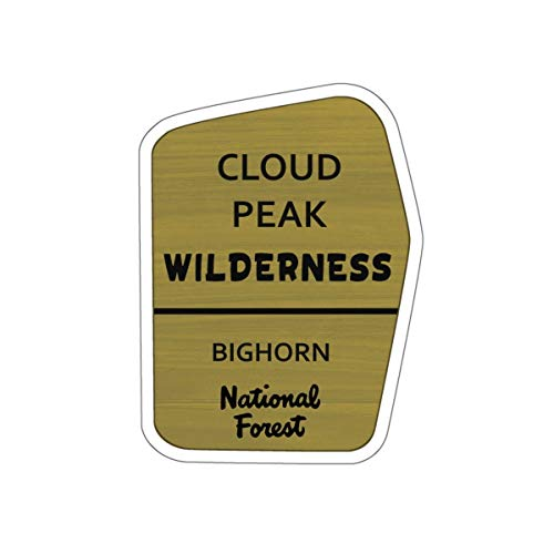 Cloud Peak Wilderness Trail Sign Vinyl Sticker - WY Decal for Car, Laptop, and Water Bottle