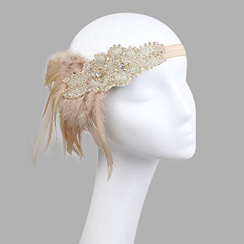 Hair Accessories Black Rhinestone Beaded Sequin Hair Band 1920s Vintage Gatsby Party Headpiece Women Flapper Feather Headband]()