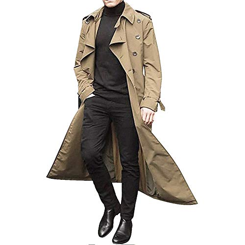 Men'S Trench Coat Windproof, Overcoat Slim Fit Long Lapel Double Breasted Belted Windbreaker Outdoor Lightweight Jacket
